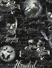 Gothic Halloween Motif Fabric 1/2-YD C3386 Timeless Treasures Wicked Hocus Pocus