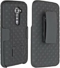 OEM VERIZON BLACK HARD CASE SHELL BELT CLIP HOLSTER STAND COMBO FOR LG G2 VS980