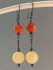 Yellow Honey Jade & Carnelian Gemstones Oxidized Sterling Silver Earrings