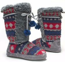NWT Muk Luks JEWEL Gray/Navy FAIR ISLE FURRY Fleece-Line Slipper Boots M 6.5-7.5