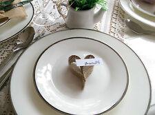Wedding tavolo POSTO CUORE CARTA VINTAGE Rustico Shabby Chic x 50 Sacchetto di juta tela di iuta
