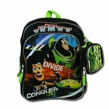 """Backpack 12"""" + Case Toy Story Buzz Woody Green Black NWT"""