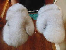 New Real Blue Fox Fur Gloves Mittens Soft and Furry