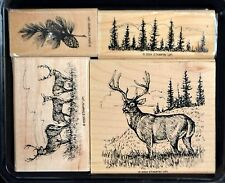 Stampin Up! Noble Deer stamp set ~ pine tree branch deer trio elk