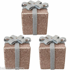 3 Christmas MOCHA BROWN Glitter Gift Box Present 6cm Table Tree Decorations