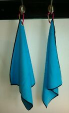 """2 New Blue Microfiber 14""""x16"""" Sports Golf Bowling Towels with Grommets & Clips"""