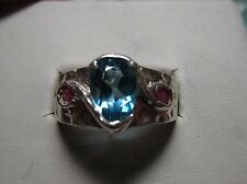 MENS 2.6 BLUE TOPAZ WITH STUNNING RUBIES STERLING RING
