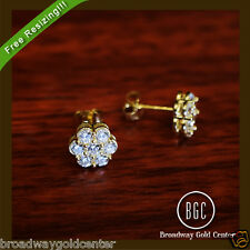 0.28 CTW Round Brilliant Cut Cluster Earrings 14k Solid Yellow Gold NOW ON SALE!