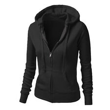 Womens Ladies Plain Hoodies Fleece Sweatshirt Hooded Coat Hoody Zipper Up Jacket