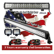 "50 inch LED Light Bar + 20inch led light bar + 2x 4"" CREE Led Pods Offroad Truck"