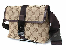 Authentic GUCCI GG Pattern Canvas Leather Browns Waist Belt bag GW13589L