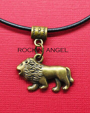 Vintage Bronze Plt Lion Pendant Leather Necklace Ladies Mens Gift Zoology Animal