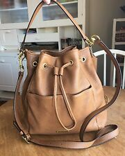 Coach Avery Brown Leather Drawstring Bucket Bag British Tan Hobo Purse F27003