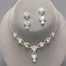 Aurora Borealis AB diamante crystal sparkly drop necklace set Brides Proms 0202