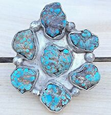 Vintage Turquoise Sterling Silver Ring Nugget Cluster Native American Raw Sz 8