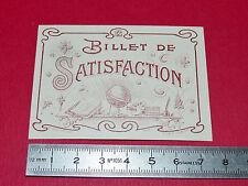 BILLET DE SATISFACTION 1926 BON-POINT ECOLE IMAGE RECOMPENSE ELEVE