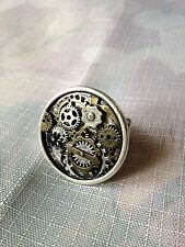 Clock Gears Round silver & bronze Ring steam punk Edwardian gothic lolita