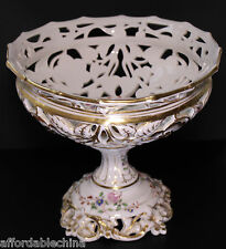 French Old Paris Porcelain Reticulated Compote Corbeille Center Piece Fruit Bowl
