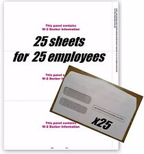 IRS Tax Forms:: W-2 blank 3-up with backer #TF5211 for 25 employees + envelopes