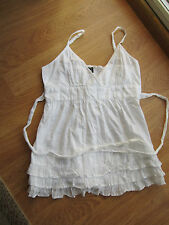 Ladies TOPSHOP White Fuffle Frill Cami Top Blouse SIZE 12 Cotton Summer Boho