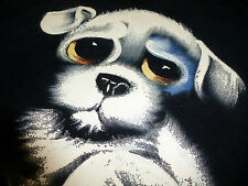 Vintage Original Painting Black Velvet Big Eyed Sad Eyed Puppy Dog