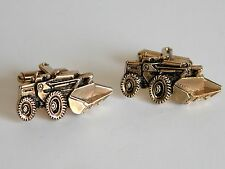 Vtg Tractor Truck Dirt Scoop Gold Tone Cuff Links Farmer