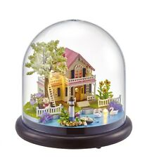 Mini Glass DIY Wooden Dollhouse Kit all Furniture&LED light / Music Box English