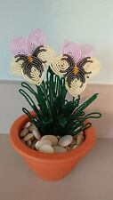 Handmade french beaded Flower Pansy plant in Clay pot lavender & yellow opal