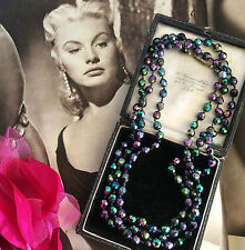 Vintage 50s Deco Gatsby Black Purple AB Beads Long Flapper Necklace Hand Knotted