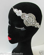 Vintage 1920 ARGENT STRASS COIFFE great gatsby tambour nuptiale bandeau Q12