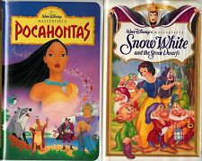 Walt Disney MC: Pocahontas (VHS, 1996) & Snow White and the Seven Dwarfs (VHS)
