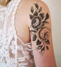 SHIP FROM NY - Large Vintage Black Roses  temporary tattoo.