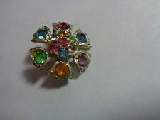 VINTAGE BEZEL GLASS BROOCH OPEN BACK GLASS BEADS