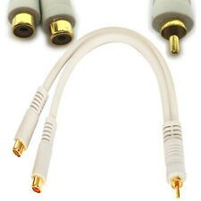 """Lot10 6"""" HQ GOLD RCA Y Splitter,Male~Dual FEMALE,Audio/Video cable Adapter{WHITE"""