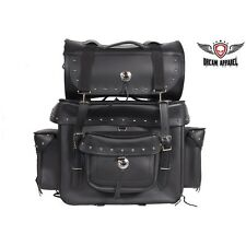 Plain Big Sissy Bar Motorcycle Biker Bag with Studs