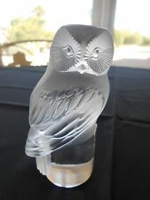"Vintage Frosted Signed Lalique Crystal Rapace 3.5"" Owl Glass Paperweight"