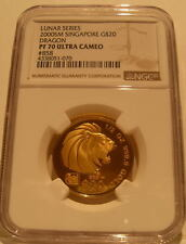 Singapore 2000 Gold 1/2 oz $20 NGC PF-70UC Year of Dragon