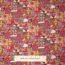 Christmas Gifts Presents Packed Patch Fabric Cotton By The Yard Santee