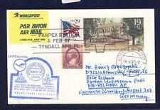 52676) LH lf Düsseldorf-Helsinki 6.4.97, postal stat. EE. UU. card panpex Lincoln