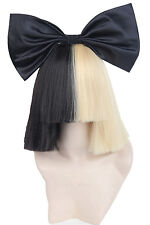 Women's Wigs Short Half Blonde and Black Straight Cosplay for Sia