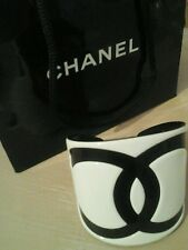 CHANEL authentic BLACK and WHITE cuff GORGEOUS stamped SHOWY + HUGE