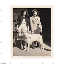 Old Vintage Photo WOMEN AND DOG IN FRONT OF SHOE STORE