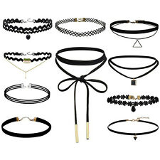 10 Pieces Choker Necklace Black Classic Velvet Stretch Gothic Tattoo Necklace wb