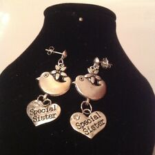Special sister. bird stud earrings silver plated