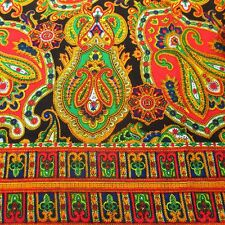 Vintage 60's 70's Printed Fabric Colorful Woven Two Pieces 2 + Yards Psychedelic
