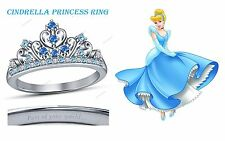 Round Multi-Color CZ 925 Silver Disney Princess Cinderella Crown Engagement Ring