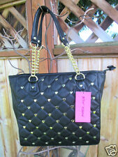 Betsey Johnson Betseyville Quilted Tote Handbag Black W/ Gold Hearts Houdini NWT
