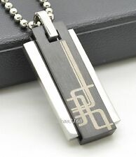 Men Silver Black Stainless Steel Rectangle Pendant Necklace Ball Chain A055