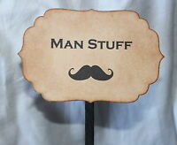 MAN STUFF-BATHROOM BASKET SIGN-Wedding-Vintage Style-Unique-Handmade for You