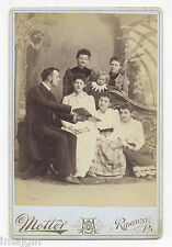 1880's-1890s REVEREND GRAUPP W/ FAMILY LOOKING AT BOOK RIDGWAY, PA CABINET PHOTO